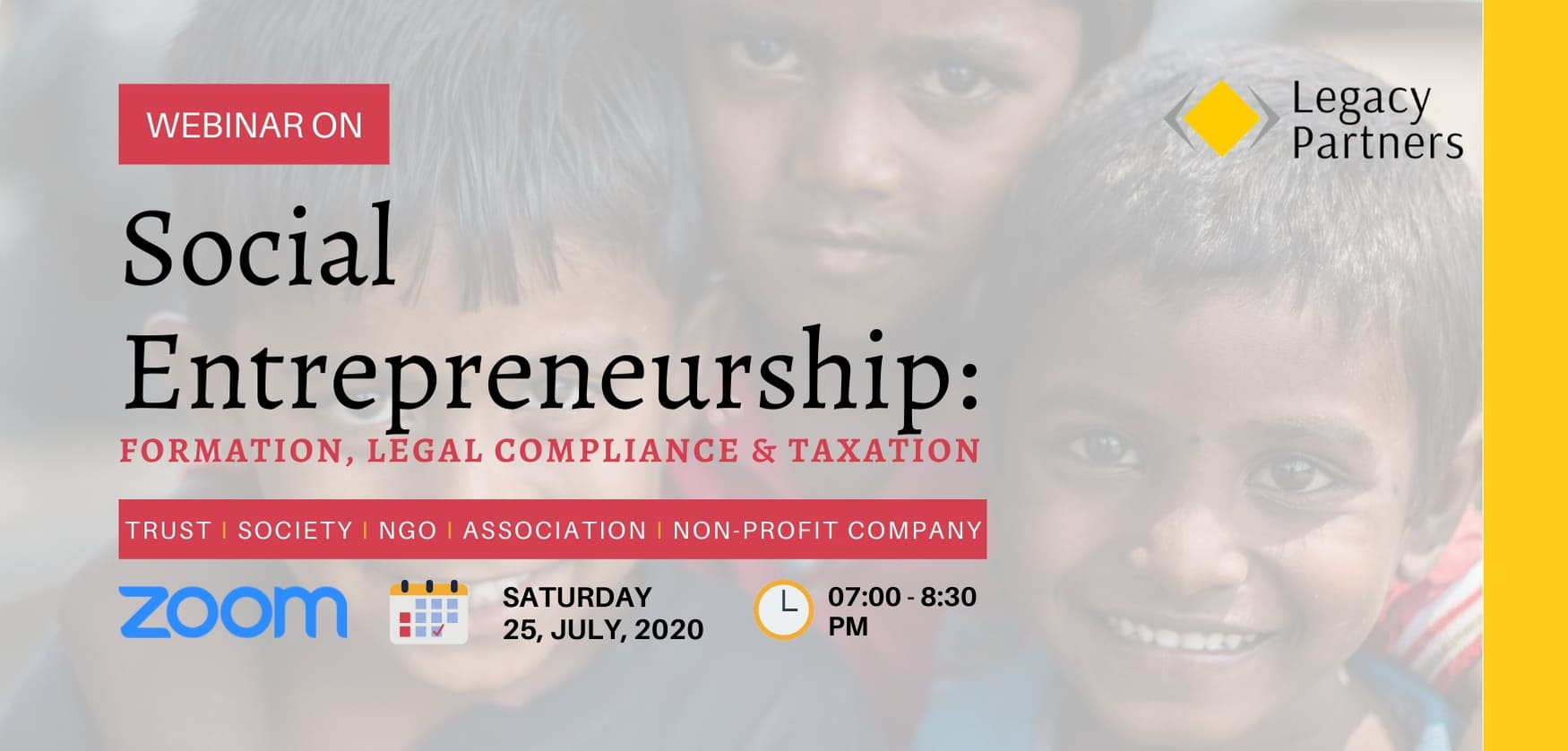 Webinar on Social Entrepreneurship: Formation, Legal Compliance and Taxation.